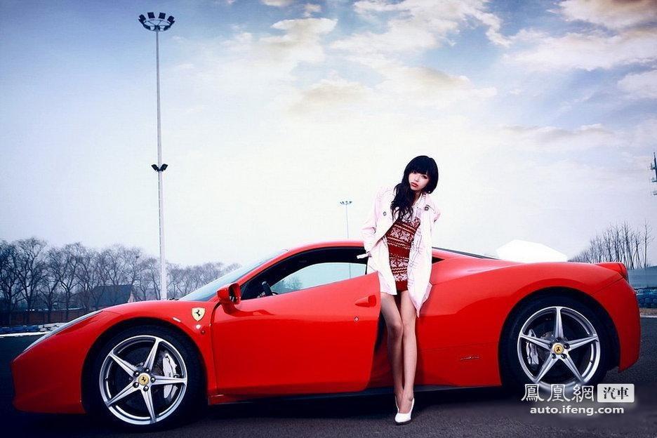 美女车模邂逅法拉利Italia 汽车频道