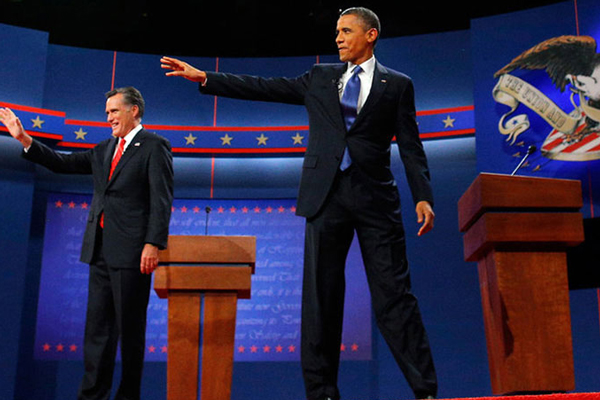 美国总统大选首场电视辩论举行