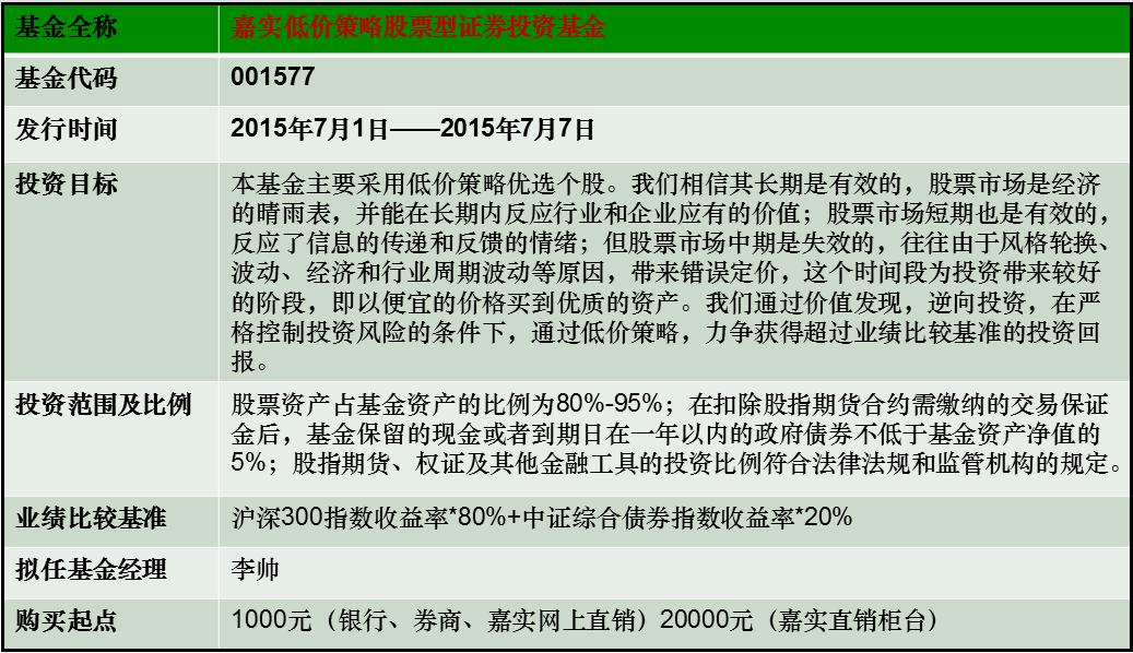 嘉实低价策略股票型证券投资基金